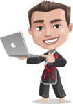 Chinese Karate Man Cartoon Vector Character AKA John Li - Laptop 1
