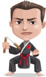 Chinese Karate Man Cartoon Vector Character AKA John Li - Nunchucks 1