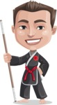 Chinese Karate Man Cartoon Vector Character AKA John Li - Staff 1
