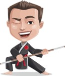Chinese Karate Man Cartoon Vector Character AKA John Li - Staff 2