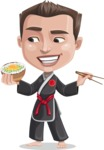 Chinese Karate Man Cartoon Vector Character AKA John Li - Rice bowl
