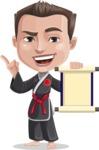 Chinese Karate Man Cartoon Vector Character AKA John Li - Scroll
