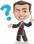 Chinese Karate Man Cartoon Vector Character AKA John Li - Question