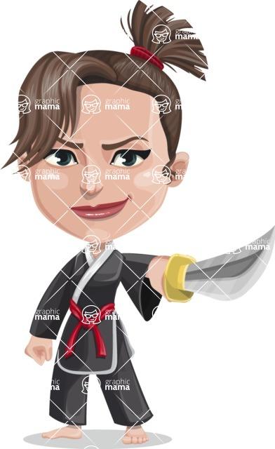 Vector Karate Cartoon Character - Katya The Brunette Karate Woman