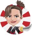 Karate Woman Cartoon Vector Character AKA Katya - Shape 1