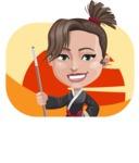Karate Woman Cartoon Vector Character AKA Katya - Shape 2