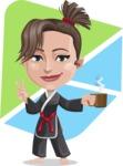 Karate Woman Cartoon Vector Character AKA Katya - Shape 5