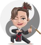 Karate Woman Cartoon Vector Character AKA Katya - Shape 6