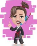 Karate Woman Cartoon Vector Character AKA Katya - Shape 7