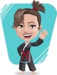 Karate Woman Cartoon Vector Character AKA Katya - Shape 8