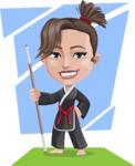 Karate Woman Cartoon Vector Character AKA Katya - Shape 11