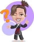 Karate Woman Cartoon Vector Character AKA Katya - Shape 12