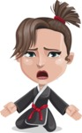 Karate Woman Cartoon Vector Character AKA Katya - Sad