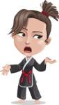 Karate Woman Cartoon Vector Character AKA Katya - Confused