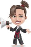 Karate Woman Cartoon Vector Character AKA Katya - Loudspeaker
