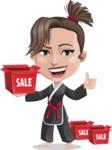 Karate Woman Cartoon Vector Character AKA Katya - Sale