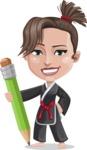 Karate Woman Cartoon Vector Character AKA Katya - Pencil