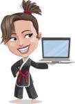 Karate Woman Cartoon Vector Character AKA Katya - Laptop 3