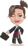 Karate Woman Cartoon Vector Character AKA Katya - Briefcase 1