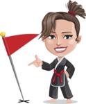 Karate Woman Cartoon Vector Character AKA Katya - Checkpoint