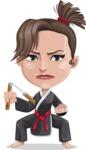 Karate Woman Cartoon Vector Character AKA Katya - Nunchucks 1