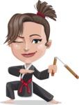 Karate Woman Cartoon Vector Character AKA Katya - Nunchucks 2