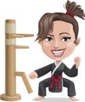 Karate Woman Cartoon Vector Character AKA Katya - Wooden Dummy