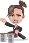 Karate Woman Cartoon Vector Character AKA Katya - Board breaking