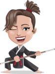 Karate Woman Cartoon Vector Character AKA Katya - Staff 2