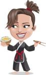 Karate Woman Cartoon Vector Character AKA Katya - Rice bowl