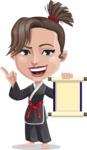 Karate Woman Cartoon Vector Character AKA Katya - Scroll