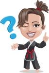 Karate Woman Cartoon Vector Character AKA Katya - Question