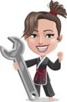 Karate Woman Cartoon Vector Character AKA Katya - Repair
