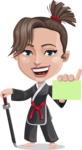 Karate Woman Cartoon Vector Character AKA Katya - Sign 1