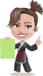Karate Woman Cartoon Vector Character AKA Katya - Sign 2