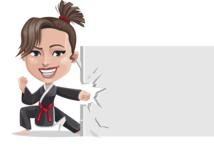 Karate Woman Cartoon Vector Character AKA Katya - Sign 8