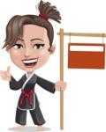 Karate Woman Cartoon Vector Character AKA Katya - Sign 9