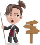 Karate Woman Cartoon Vector Character AKA Katya - Crossroad