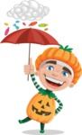 Kid with Halloween Costume Cartoon Vector Character AKA Keat Trick-or-treat - and Candies Raining Concept