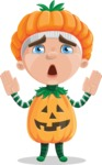Kid with Halloween Costume Cartoon Vector Character AKA Keat Trick-or-treat - Being Afraid