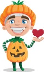 Kid with Halloween Costume Cartoon Vector Character AKA Keat Trick-or-treat - Being Cute with Love Heart
