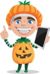 Kid with Halloween Costume Cartoon Vector Character AKA Keat Trick-or-treat - Being Modern with a Tablet
