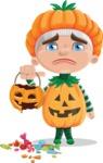 Kid with Halloween Costume Cartoon Vector Character AKA Keat Trick-or-treat - Being Sad With Broken Pumpkin Lantern