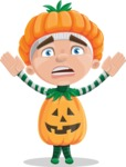 Kid with Halloween Costume Cartoon Vector Character AKA Keat Trick-or-treat - Being Scared