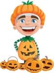 Kid with Halloween Costume Cartoon Vector Character AKA Keat Trick-or-treat - Celebrating Halloween With Pumpkins