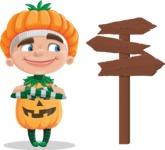 Kid with Halloween Costume Cartoon Vector Character AKA Keat Trick-or-treat - Choosing a Way To Go