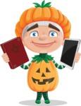 Kid with Halloween Costume Cartoon Vector Character AKA Keat Trick-or-treat - Choosing Between Modern and Oldschool