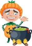 Kid with Halloween Costume Cartoon Vector Character AKA Keat Trick-or-treat - Cooking in a Caldron