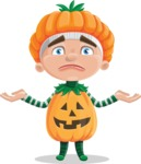 Kid with Halloween Costume Cartoon Vector Character AKA Keat Trick-or-treat - Feeling Confused