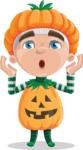 Kid with Halloween Costume Cartoon Vector Character AKA Keat Trick-or-treat - Feeling Shocked